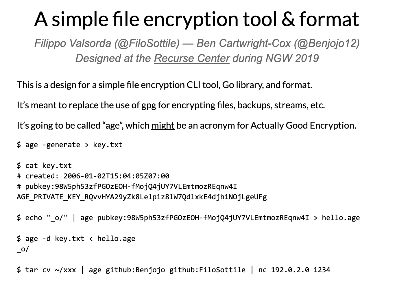 Age specification, a simple file encryption tool & format - Joy of Computing